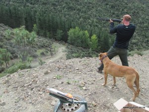 Hamish shooting at a clay, watched on by Lightning