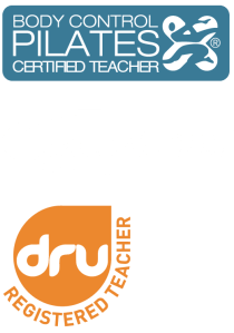 hilary symmans certified teacher body control pilates dru yoga back for good logos