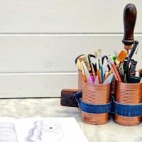Stylish Copper and Denim Craft Caddy