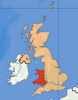 Il Galles (in rosso)