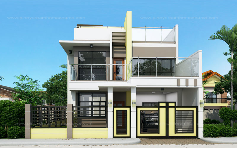 Prosperito single attached two story house design with for Eplans modern homes