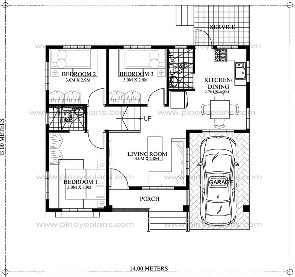 SHD 2015022 FLOOR PLAN - Download Small House Low Budget Modern 2 Bedroom House Design Floor Plan Gif