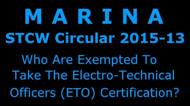 Who Are Exempted To Take ETO Certification In MARINA?