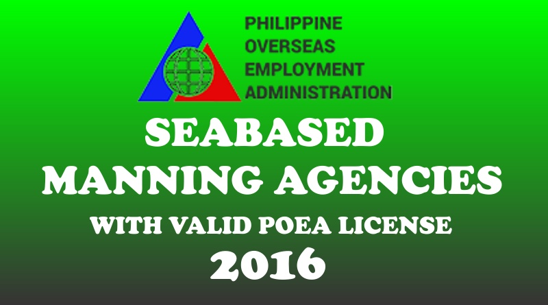 Seabased Manning Agencies With Valid POEA License - 2016