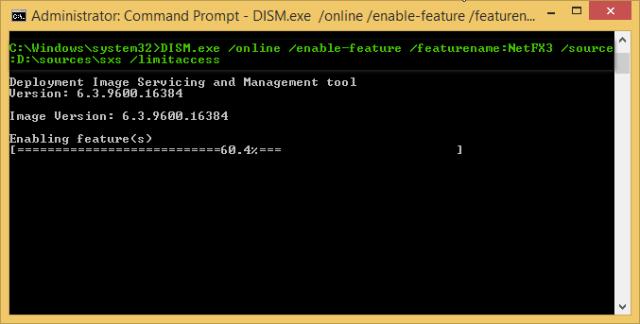 Cara Mengaktifkan Net Framework 3.5 di Windows 8/8.1 Secara Offline Menggunakan DVD Installer