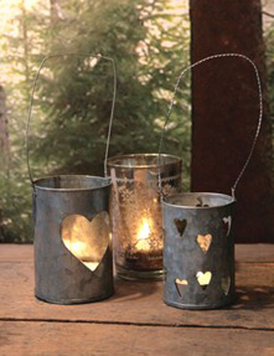 Pretty-Tea-Light-Holders, Rose &amp; Grey