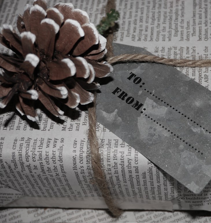 Pine cone gift tag by Pippa Jameson Interiors