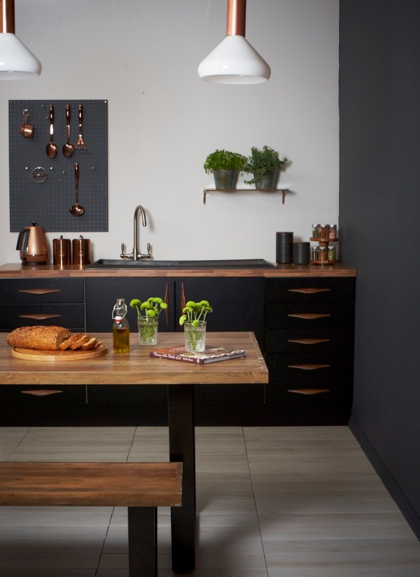 Copper and black kitchen for Dark grey kitchen units