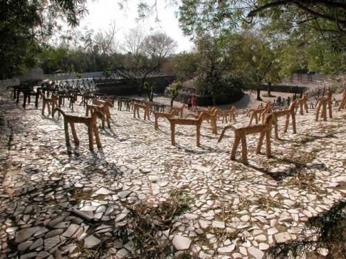 nek chand animal stone rock garden india