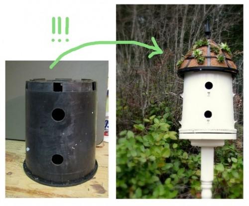 plant pot bird house DIY