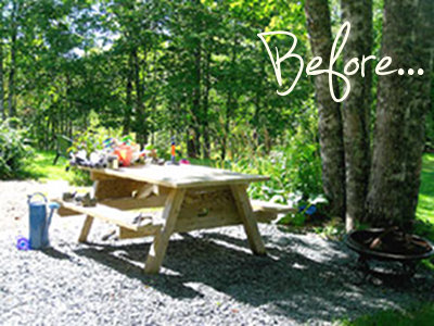before and after garden picnic table