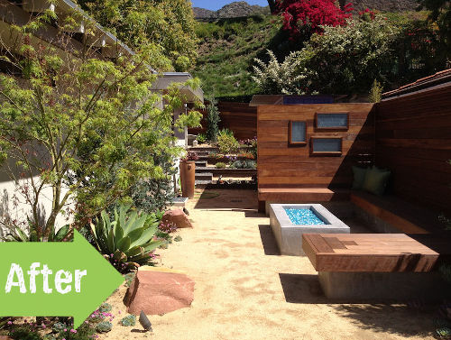 side yard, los angeles, california, after, makeover, glass rocks, wood, fence, bench, hangout,