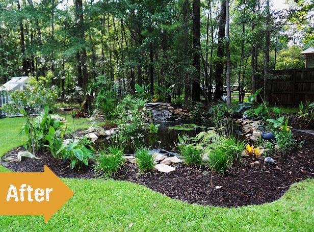 pond, basin, after, landscape, backyard, perennial, garden, makeover