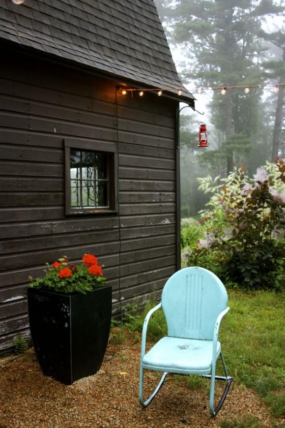 vintage patio chair and geranium container near studio 'g' barn www.pithandvigor.com
