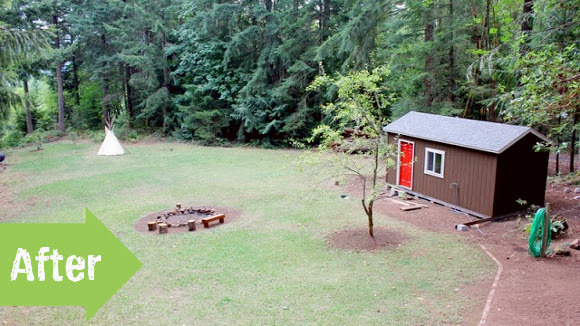 before, after, yard, big yard, rural, landscape, tiny house, guest house