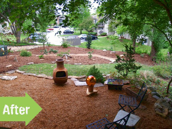 before & after, makeover, mulch