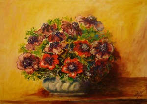 184 - anemoni rossi 35 x 50