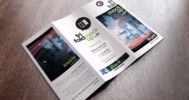 trifold brochure mockup   Selo l ink co psd tri fold mockup template vol4 psd mock up templates pixeden
