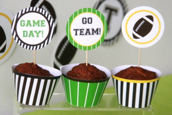 Football Birthday Cupcake Toppers by Pixiebear Party Printables