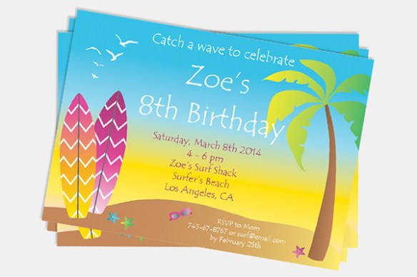 Summer Beach Birthday Invitation by Pixiebear Party Printables
