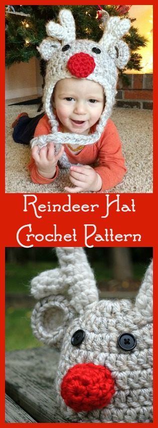 Free Pattern: Crochet Reindeer Hat - Toddler Size - Place ...