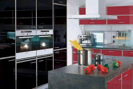 alno alnotech pro high gloss black red kitchen