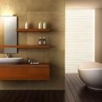 Baño minimalista con elementos naturales
