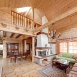 Living room de casa de campo todo de madera