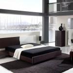 Moderno dormitorio minimalista decorado en blanco y negro