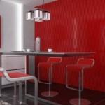 Comedor con paneles decorativos color rojo