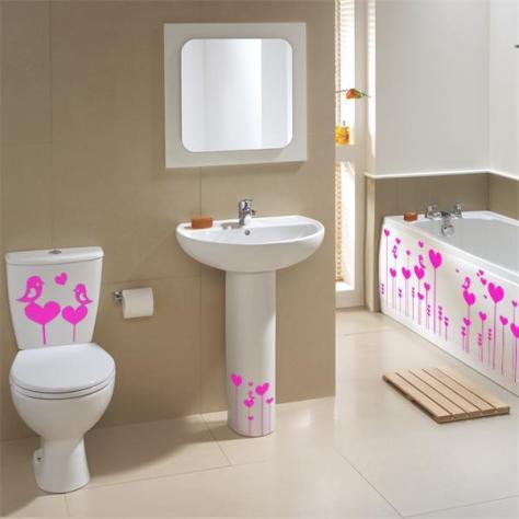 Originales vinilos para decorar el cuarto de baño.