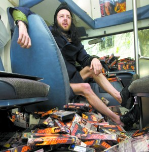 "Ryan Beitz talks about his collection of more than 550 copies of the movie ""Speed"" in his van in Moscow on April 30."