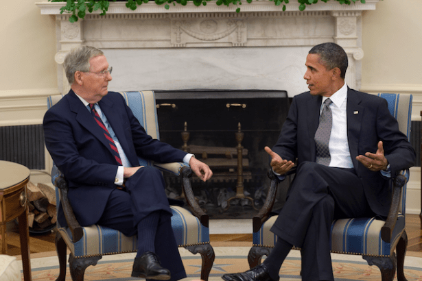 "Senate Majority Leader Mitch McConnell (left) is a staunch advocate for coal and vowed to ""get the EPA reigned in."" (Image: Creative Commons)"