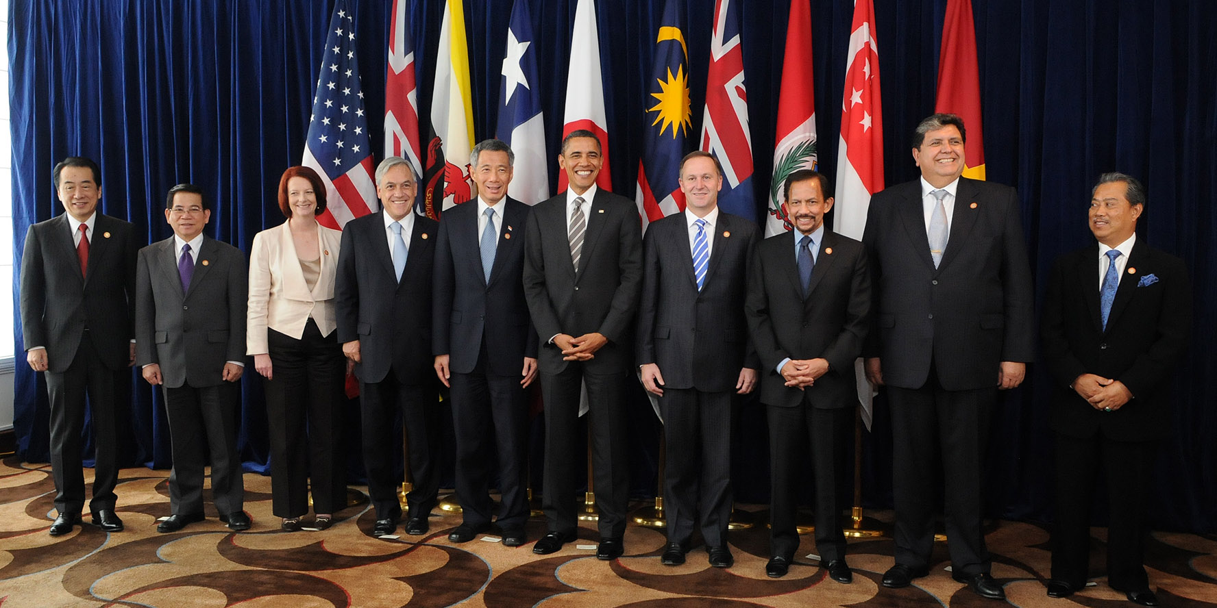Leaders of prospective member states at a TPP summit in 2010. (Photo Credit: Gobierno de Chile)