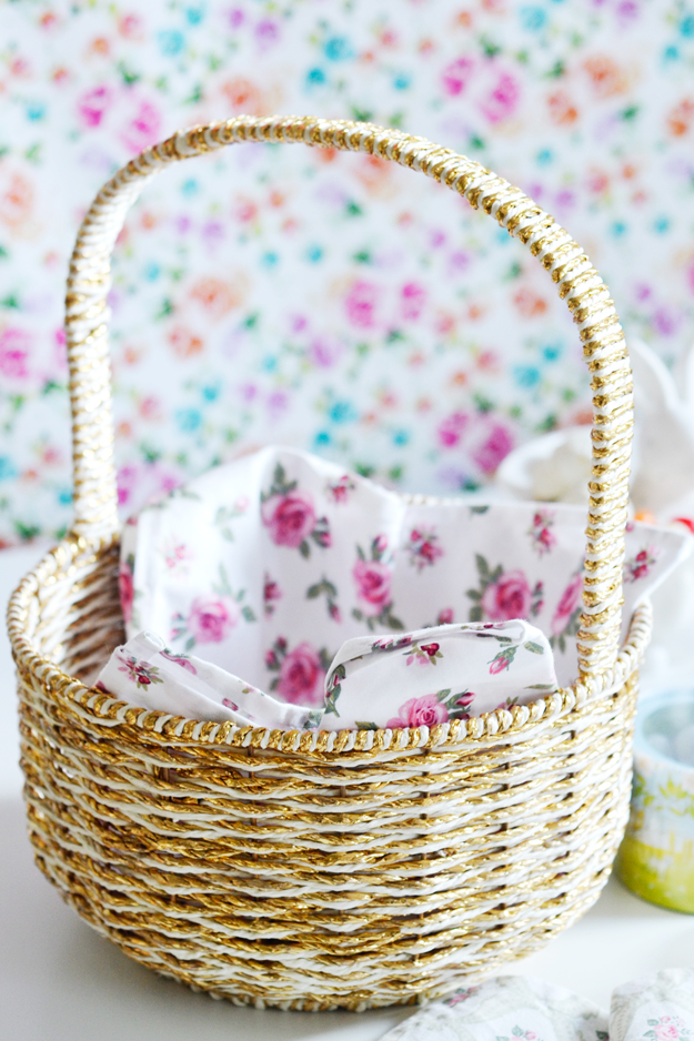 The perfect easter basket first find a pretty tea towel or pattern cotton fabric to to line the basket it looks so much better than that shredded paper stuff that gets all over the negle Choice Image