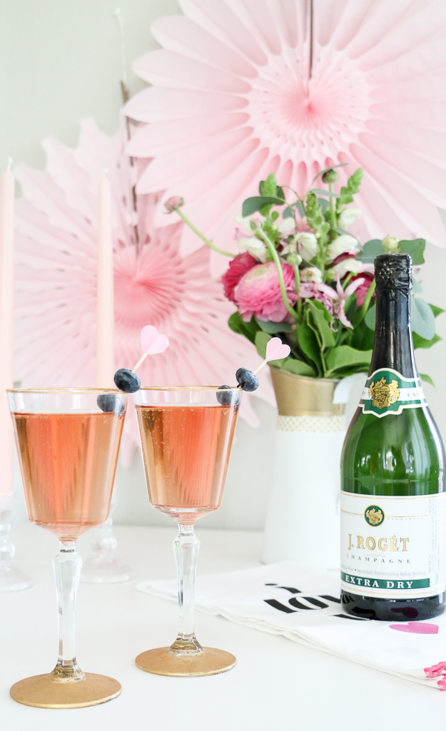 sparkling berry rose cocktail