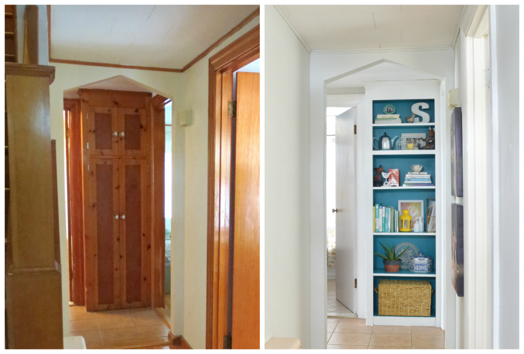 Turning skinny pantry into colorful open shelving -- Plaster & Disaster
