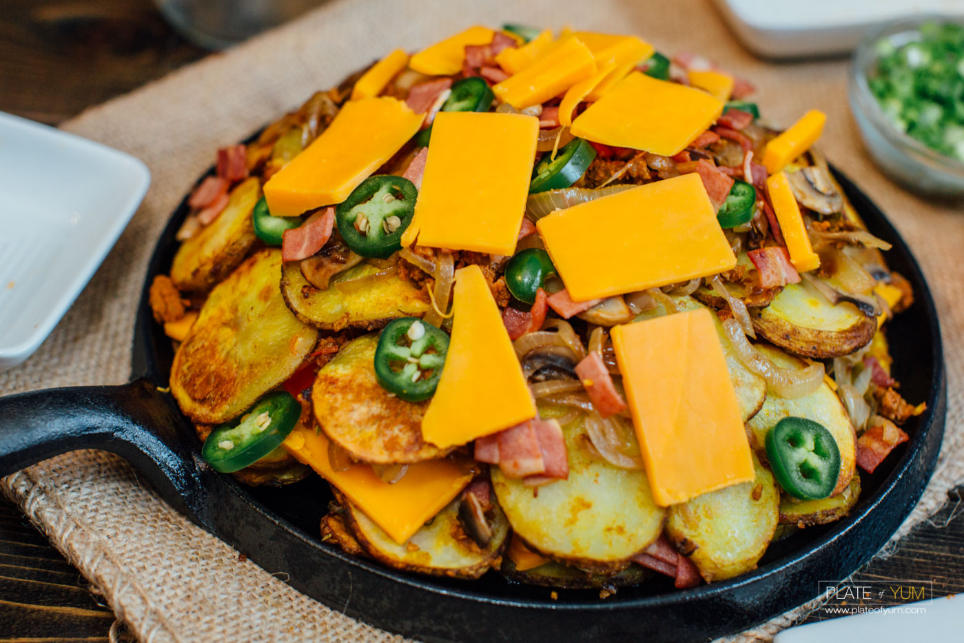 Potato Nacho Supreme with Turkey Bacon, Ground Beef and Cheddar