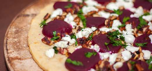 Goat Cheese and Beet Pizza with Toasted Walnuts