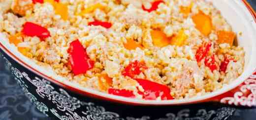 Creamy Bell Pepper and Turkey Rice Casserole recipe - www.platingpixels.com