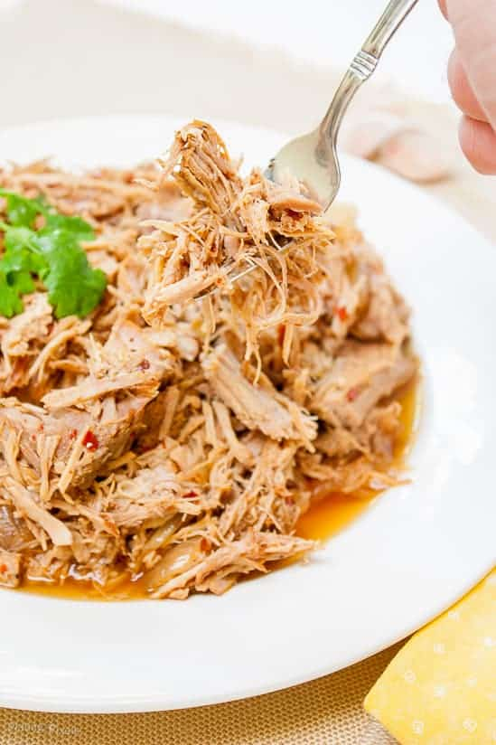 Carolina Style Slow Cooker Pulled Pork - www.platingpixels.com