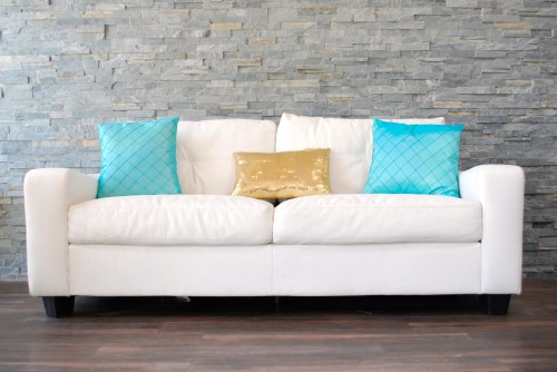 Medium Of White Leather Couch
