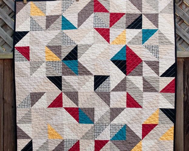 Half square triangles - front of the quilt