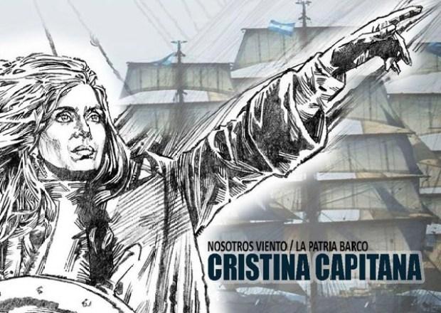 Cristina Capitana: afiche convocando al acto por la llegada de la fragata