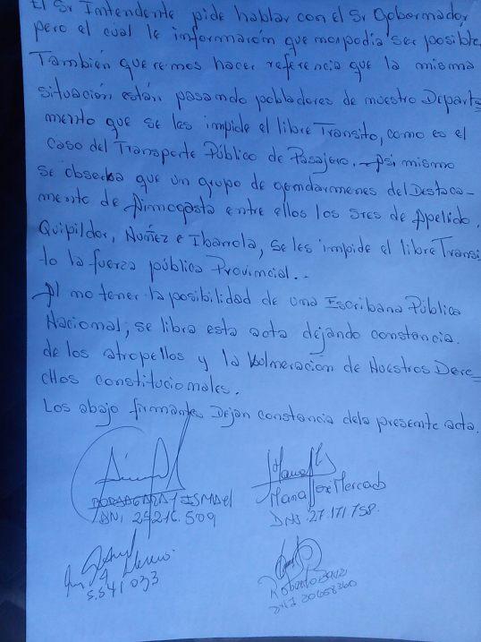 Acta que da cuenta del impedimento del paso a Gendarmería.