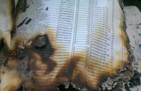 Los papeles rescatados del fuego que causaron la ira de Cirigliano.