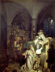 El alquimista en busca de la piedra filosofal. Joseph Wright (1771)