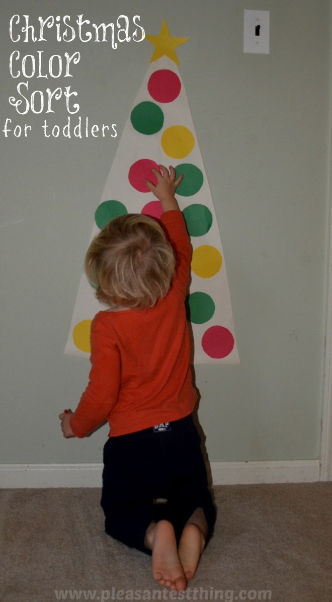 Christmas Game for toddlers: color sort paper tree decorations