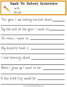 Back to School Interview - free printable to use with your kids or students!
