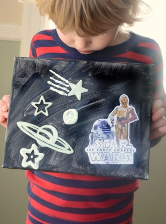 Make a Star Wars art scene - a glow in the dark FUN, reposition able craft!